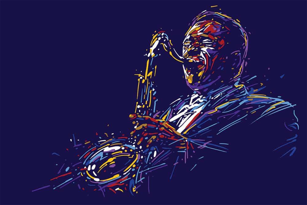 African American man playing saxophone