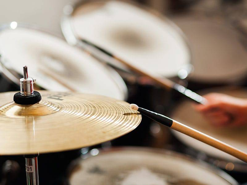 Close up of drum set cymbals cover
