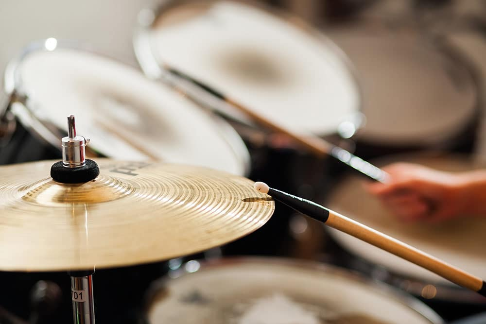 Close up of drum set cymbals