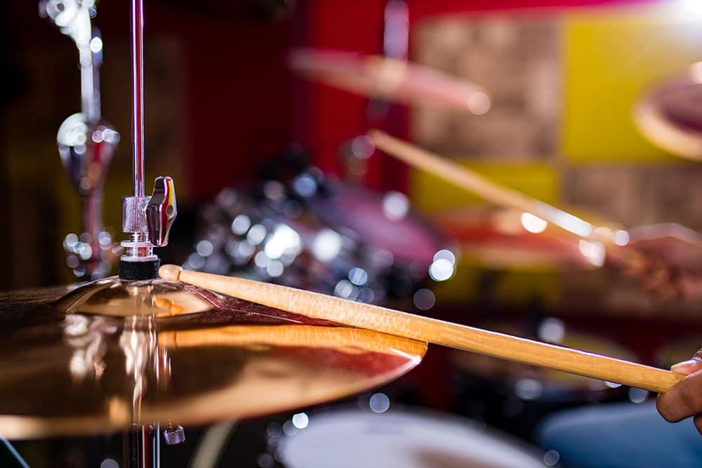 Close up of drum set