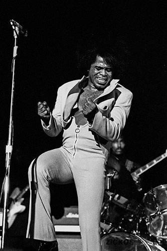 James Brown on stage singing