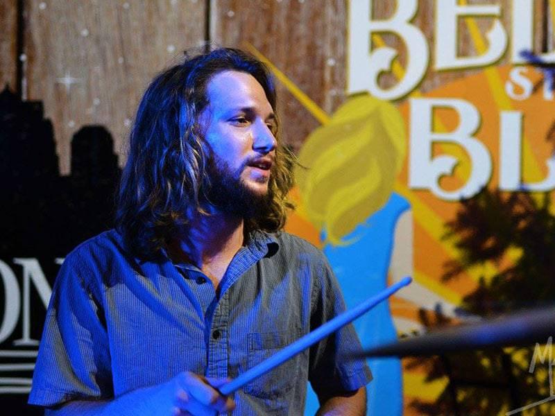 Joel Shipley playing drums at gig