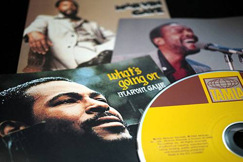 Marvin Gaye albums spread out