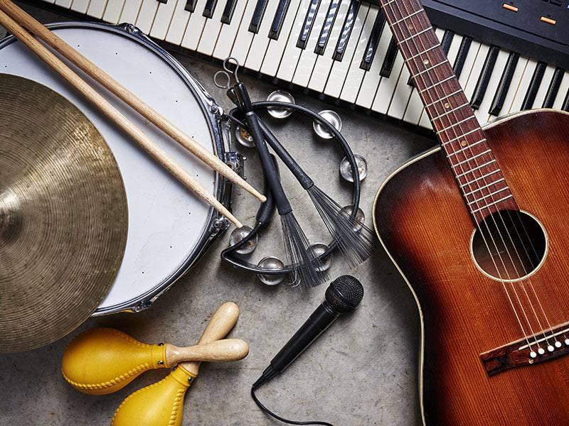 Musical instruments, guitar, keyboard, microphone, drum sticks