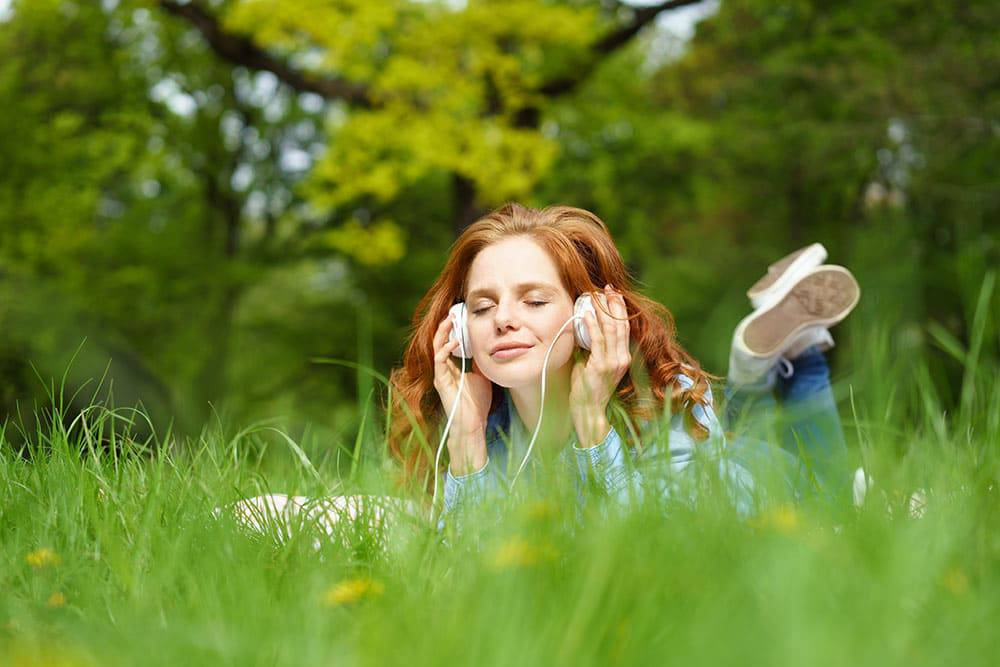 Girl Listening to Music outside