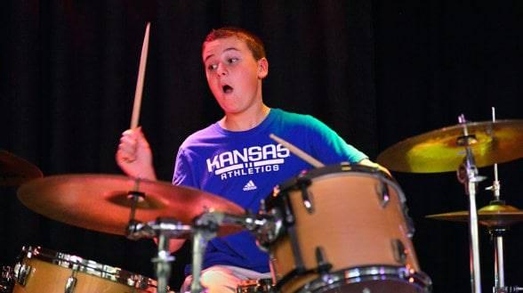 Leo on drums