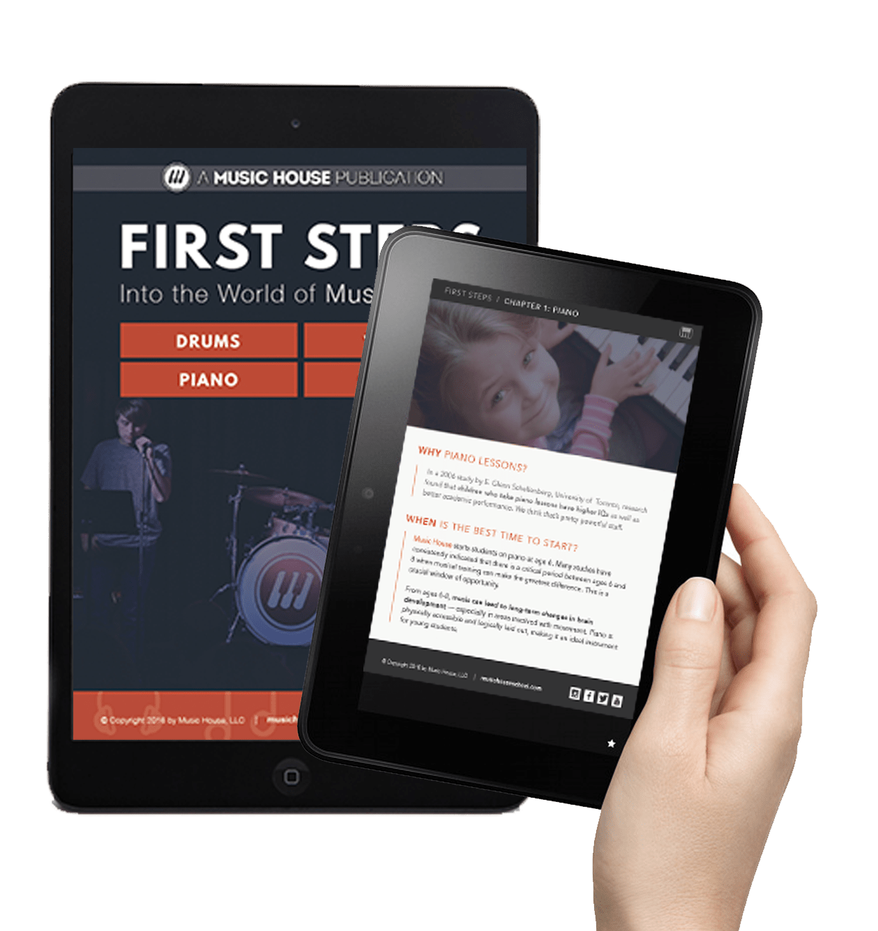 Our free First Steps ebook shown on a tablet